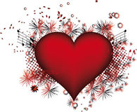 Coração com grunge das flores ilustração do vetor