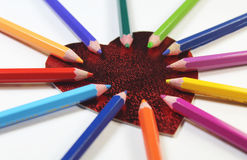 Coração com lápis da cor Fotografia de Stock Royalty Free