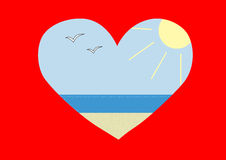 Coração com mar para dentro Fotografia de Stock