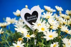 Coração com Margeriten, texto, Imagem de Stock