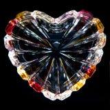 Coração de cristal no fundo preto imagens de stock royalty free