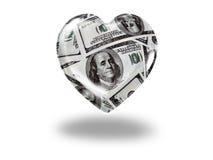Coração com 100 notas de dólar Fotografia de Stock