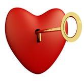 Coração com o fundo chave e branco que mostra o romance e o Val do amor Fotos de Stock Royalty Free