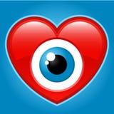 Coração com olho olhando fixamente Fotografia de Stock Royalty Free