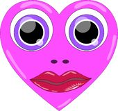 Coração com olhos e bordos ilustração stock