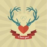 Coração com os chifres azuis dos cervos Foto de Stock