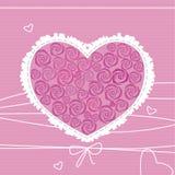 Coração com os ornamento das rosas Imagens de Stock