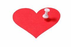 Coração com pino fotografia de stock