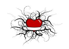 Coração com plantas ao redor. Vetor Fotografia de Stock