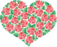 Coração com rosas   Imagens de Stock Royalty Free