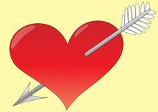 Coração com seta Fotografia de Stock Royalty Free