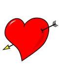 Coração com seta Fotografia de Stock