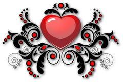 Coração com teste padrão floral Fotografia de Stock