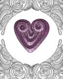 Coração com teste padrão floral do fundo da tampa da garatuja Foto de Stock Royalty Free