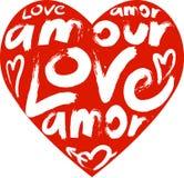 Coração com um amor da palavra no muitas línguas Fotos de Stock