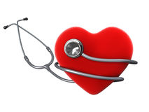 Coração com um estetoscópio Fotos de Stock Royalty Free