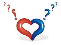 Coração com um ponto de interrogação ilustração stock