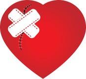 Coração com uma cicatriz e um emplastro Fotos de Stock Royalty Free