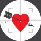 Coração com uma seta na vista ilustração royalty free