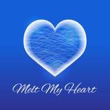 Coração congelado feito do gelo em um fundo azul Ilustração do vetor Foto de Stock Royalty Free
