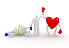 Coração contra a mente. Imagens de Stock