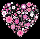 Coração cor-de-rosa brilhante floral ilustração stock