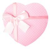 Coração cor-de-rosa caixa de presente dada forma Fotos de Stock Royalty Free