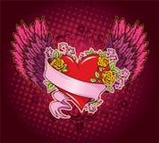 Coração cor-de-rosa com asas Imagens de Stock Royalty Free