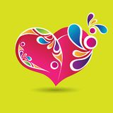 Coração cor-de-rosa com elementos de cor ilustração do vetor