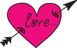 Coração cor-de-rosa com uma seta Fotografia de Stock Royalty Free