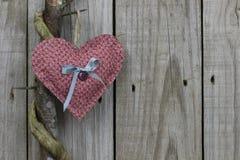 Coração cor-de-rosa da chita que pendura na árvore de locustídeo do mel com fundo de madeira imagem de stock