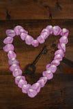 Coração cor-de-rosa da pétala cor-de-rosa com chave Foto de Stock Royalty Free