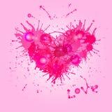 Coração cor-de-rosa de gotas da pintura. ilustração stock
