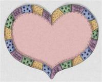 Coração cor-de-rosa desenhado mão do Quilt Fotos de Stock