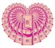 Coração cor-de-rosa do dólar Fotografia de Stock Royalty Free