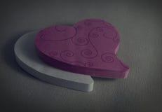 Coração cor-de-rosa e branco Fotografia de Stock Royalty Free