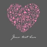 Coração cor-de-rosa floral da garatuja bonito do vetor Fotografia de Stock Royalty Free