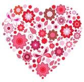 Coração cor-de-rosa floral e borboleta Foto de Stock Royalty Free