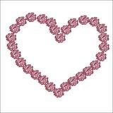 coração cor-de-rosa grande de flores vermelhas para o dia do ` s do Valentim dos amantes do feriado em fevereiro Foto de Stock