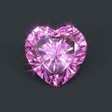 Coração cor-de-rosa isolado do diamante dado forma Imagens de Stock Royalty Free