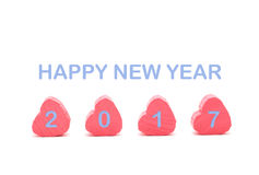 Coração cor-de-rosa no fundo branco com o colo do azul do ano novo feliz 2017 Foto de Stock Royalty Free