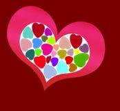 Coração cor-de-rosa no vermelho Foto de Stock Royalty Free