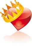 Coração coroado vidro Fotografia de Stock Royalty Free