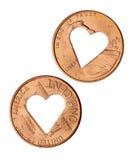 Coração cortado da moeda de um centavo Fotografia de Stock Royalty Free