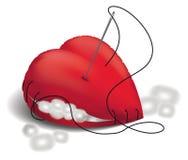 Coração costurado lãs Fotografia de Stock