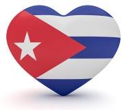 Coração cubano da bandeira, ilustração 3d ilustração royalty free