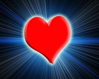 coração 3d vermelho de incandescência. Raios e fulgor ao redor. Fotos de Stock Royalty Free