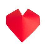 Coração 3d vermelho do origâmi Fotos de Stock