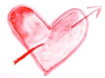 Coração da aguarela Fotografia de Stock