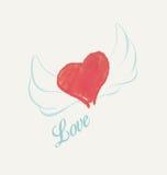 Coração da aquarela com asas Fotos de Stock Royalty Free